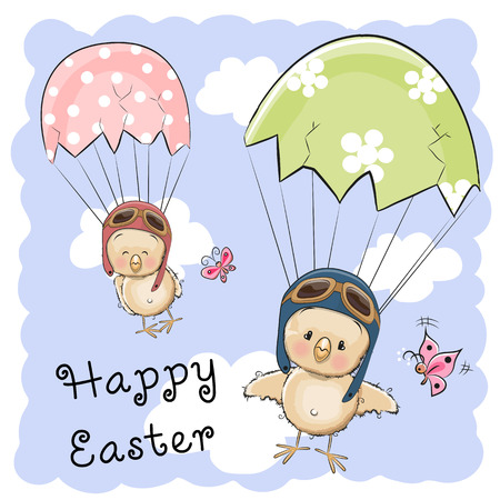 Greeting Easter card Two hatched chicks is flying on parachutes