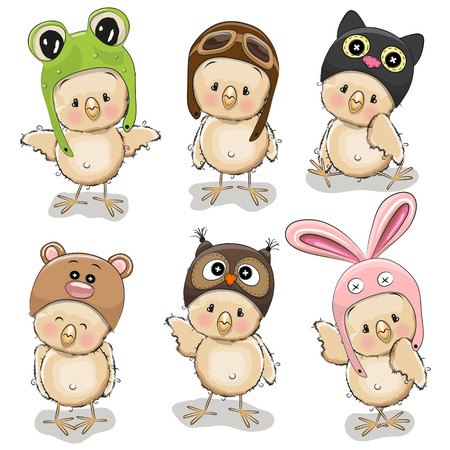 Six cute chicks in different hats on a white background Illustration