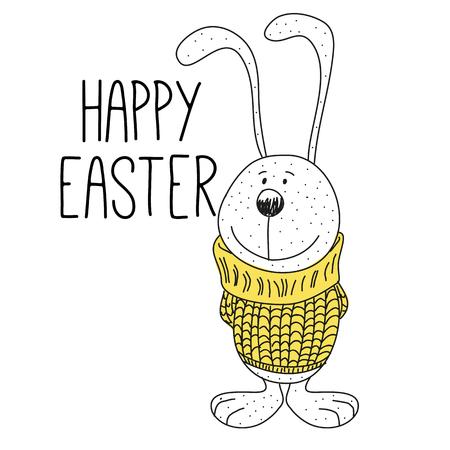 sueter: Tarjeta de felicitación de Pascua con el dibujo de la historieta linda del conejito en el suéter Vectores