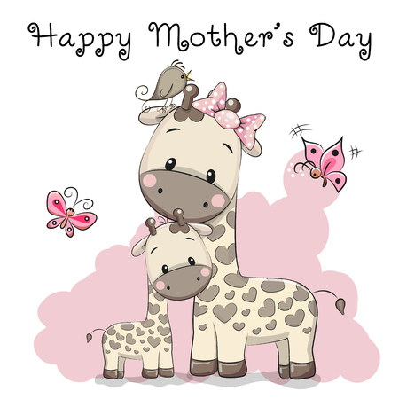 Greeting Card With two cute cartoon giraffes Stock Illustratie