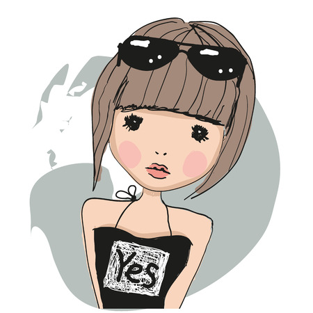 black hair girl: Cute girl with brown hairs and glasses Illustration