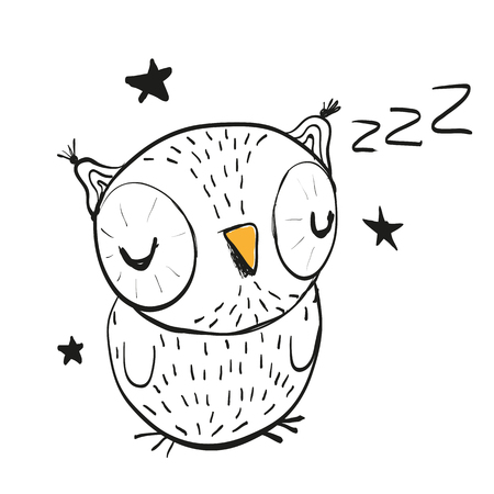cartoons animals: Hand drawn sleeping owl on a white background