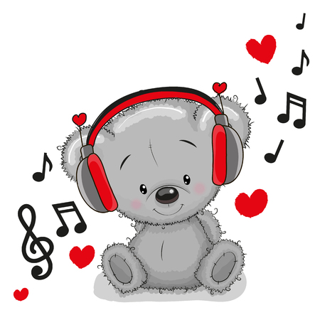 만화 귀여운 테 디 베어와 헤드폰 스톡 콘텐츠 - 55043573