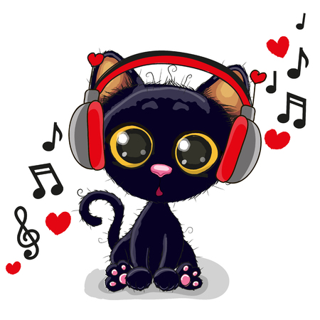 Cute cartoon Black kitten with headphones Stock Illustratie
