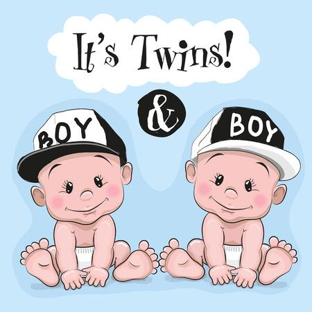 青い背景の 2 つのかわいい漫画双子男の子