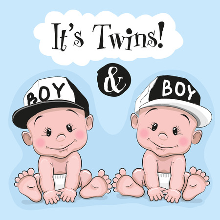 Dwa słodkie bliźniaki chłopcy kreskówek na niebieskim tle