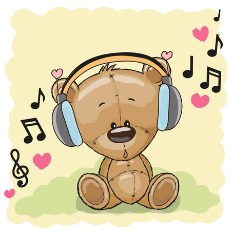 Historieta linda del oso de peluche con los auriculares