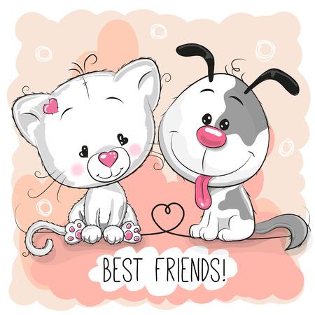 Leuke kat en hond op een gele achtergrond Stock Illustratie