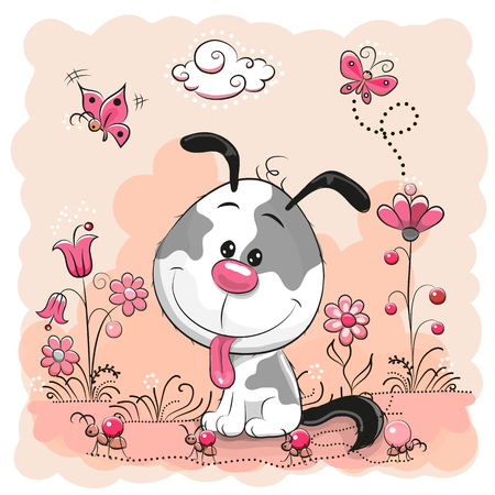 cute dog: Cute dog with flowers and butterflies on a meadow