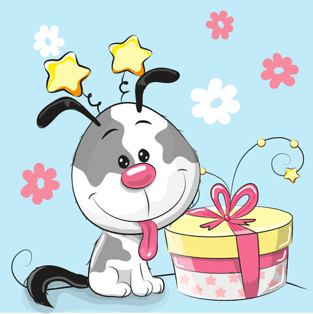 baby illustration: Greeting card cute Puppy with gift on a pink background