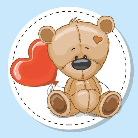Dibujo oso de peluche con un globo rojo Foto de archivo - 55043584