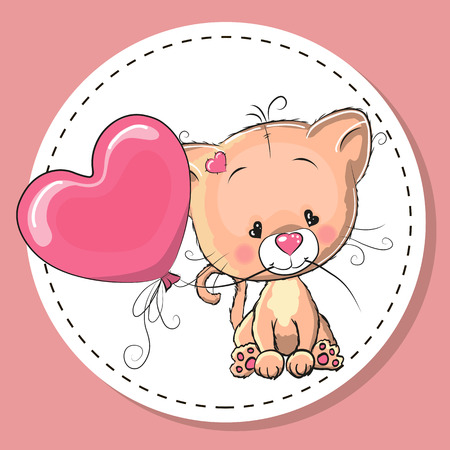 baby illustration: Greeting card Cute kitten with pink balloon Illustration