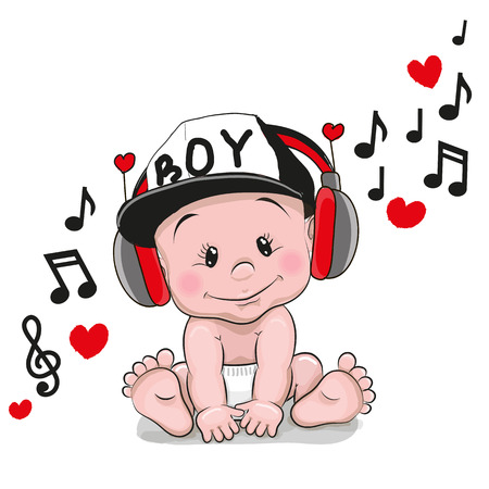 Cute cartoon Baby with headphones and a cap