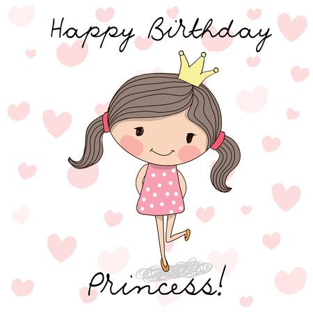 Tarjeta de cumpleaños feliz con la pequeña princesa linda Ilustración de vector