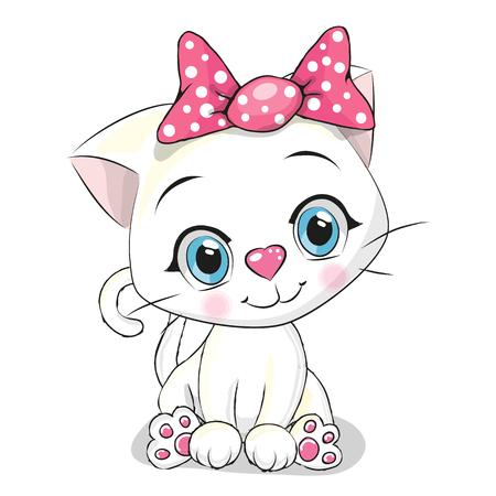 brujas caricatura: Lindo gatito blanco de dibujos animados sobre un fondo blanco