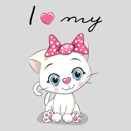 Cute cartoon White kitten on a gray background Çizim