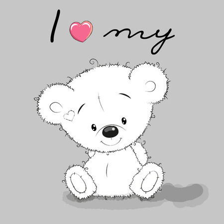 Cute Cartoon Teddy Bear on a gray background