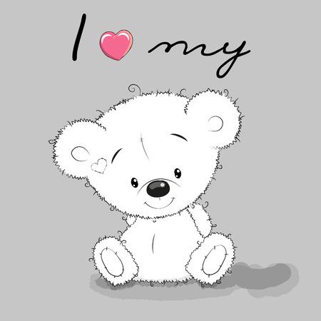 Leuke Cartoon Teddy Bear op een grijze achtergrond