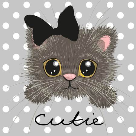 one eyed: Cute british kitten isolated on a dots background Illustration