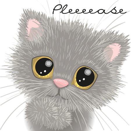 귀여운 영국 고양이 흰 배경에 고립 된 일러스트