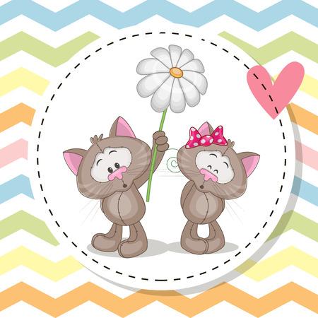 infancia: tarjeta de felicitación con dos gatos lindos en un marco Vectores