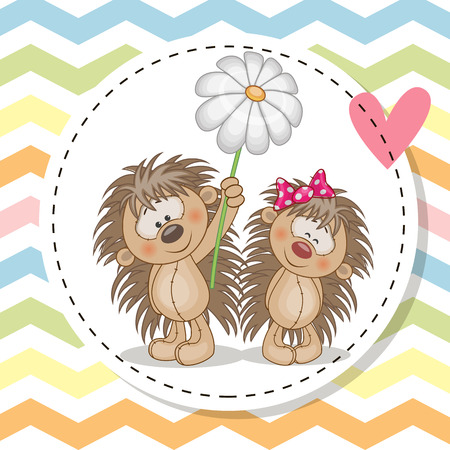 cartoon hedgehog: Greeting card with two Cute Hedgehogs in a frame
