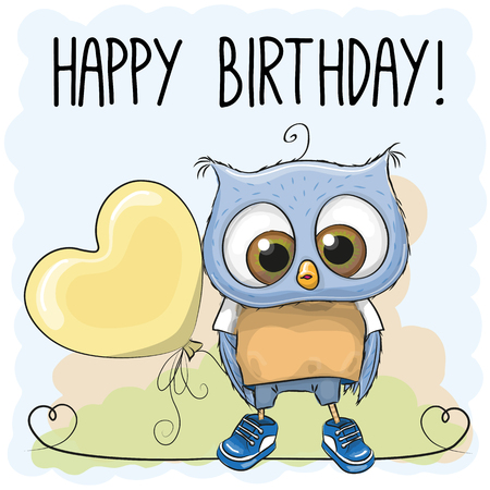 Cute Cartoon Owl Boy with a balloon