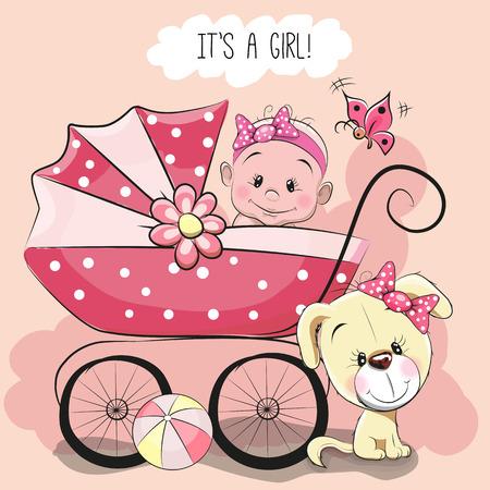 Tarjeta de felicitación es una niña con carrito de bebé y el perro