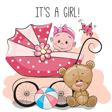 Greeting card its a girl with baby carriage and teddy bear
