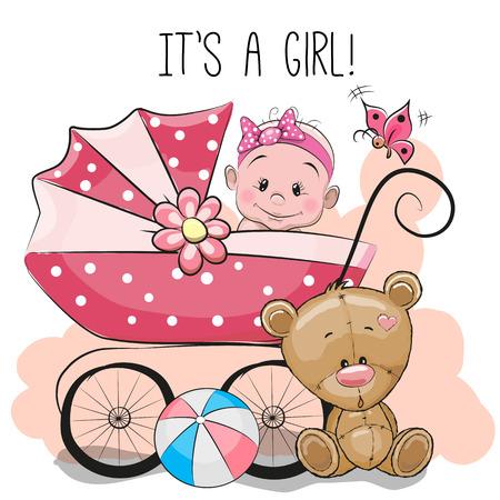 Wenskaart het is een meisje met kinderwagen en teddybeer