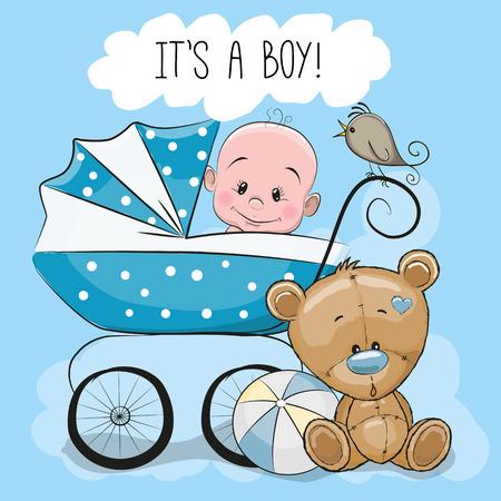 Tarjeta de felicitación de su un muchacho con el carro de bebé y oso de peluche Foto de archivo - 55043746