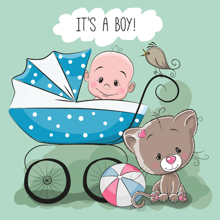 it's: Greeting card its a boy with baby carriage and cat
