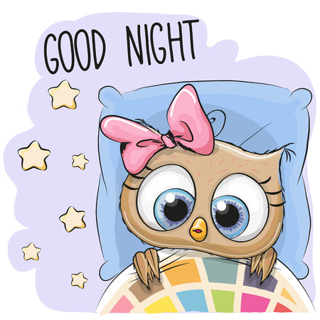 Leuke Cartoon Slapen Uil Meisje in een bed