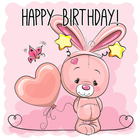 cutie: Cute Cartoon Pink Rabbit with a balloon Illustration