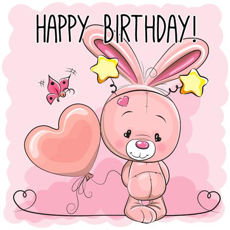 pink rabbit: Cute Cartoon Pink Rabbit with a balloon Illustration