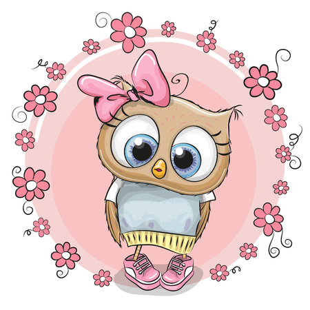 Greeting card owl with flowers on a pink background