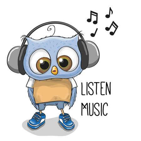 Cute cartoon Owl Boy with headphones on a white background Vektorové ilustrace
