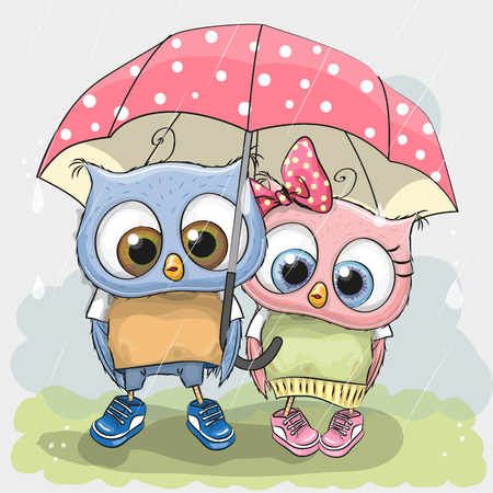 postcard design: Two cute Lovers owls under pink umbrella