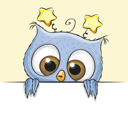 Greeting card cute Cartoon Blue Owl Boy