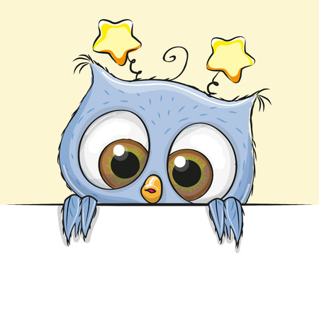 Greeting card cute Cartoon Blue Owl Boy
