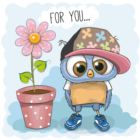 bird: Greeting card Cute Cartoon Owl with flower Illustration