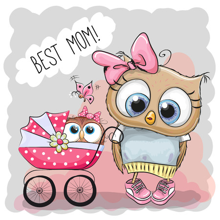 baby illustration: Greeting card Best mom with Cute Cartoon Owls and baby carriage