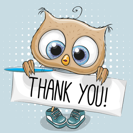 Cute cartoon Sowa Chłopiec z tablicą z napisem dziękuję Ilustracje wektorowe