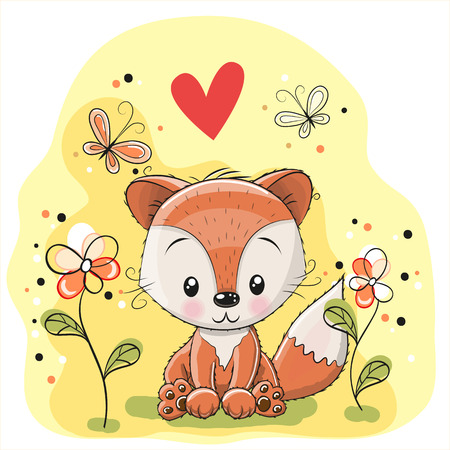 cute cartoon girl: Fox with flowers and butterflies on a meadow Illustration