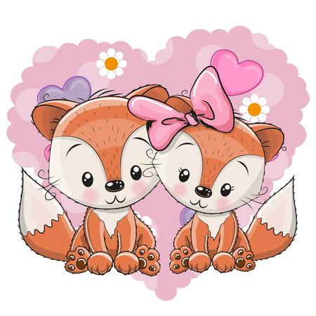 Dos zorros lindo en un fondo del corazón Ilustración de vector