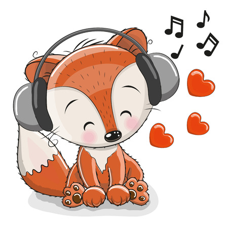 Bande dessinée mignonne Fox avec un casque et des coeurs