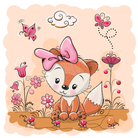 red ant: Cute Cartoon Fox on a meadow with flowers and butterflies