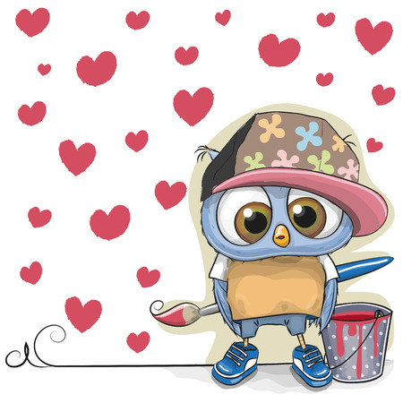 Cute Owl with brush is drawing hearts