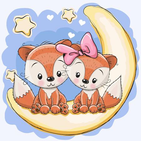 renard dessin couleur: Deux Renards mignon est assis sur la lune