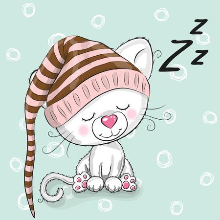 Sleeping cute Kitten in a hood on a white background